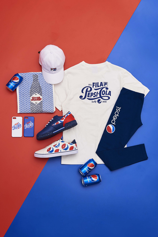 bf52c06eed99 ... FILA and Pepsi, as items seamlessly merge those design elements. The  line consists of t-shirts, dresses and leggings, as well as shoes and  accessories, ...